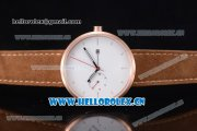 Greyhours Essential Asia Manual Winding Rose Gold Case with White Dial Stick Markers and Brown Leather Strap