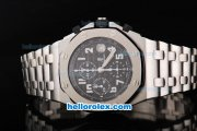 Audemars Piguet Royal Oak Offshore Black Themes Chronograph Swiss Valjoux 7750 Movement Black Dial with White Numeral Marker-SS Strap