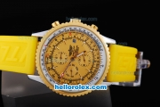 Breitling Navitimer Automatic Movement Gold Bezel with Yellow Dial and Rubber Strap