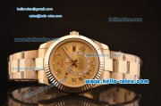 Rolex Sky-Dweller Asia 2813 Automatic Gold Case/Strap with Champagne Dial and Roman Numeral Hour Markers ETA Coating