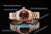 Rolex Datejust Swiss ETA 2671 Automatic Rose Gold Case with Brown Dial Stick Markers and Rose Gold Bracelet (BP)
