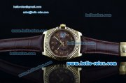 Rolex Sky-Dweller Asia 2813 Automatic Gold Case with Brown Leather Strap and Brown Dial