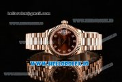 Rolex Datejust Swiss ETA 2671 Automatic Rose Gold Case with Brown Dial Diamonds Markers and Rose Gold Bracelet (BP)
