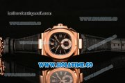 Patek Philippe Nautilus Chrono Swiss Valjoux 7750 Automatic Rose Gold Case with Stick Markers and Black Dial - 1:1 Original (BP)