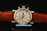Patek Philippe Complicated Swiss Valjoux 7750 Manual Winding Movement Steel Case with White Dial