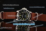 Rolex Sea-Dweller Vintage Asia 2813 Automatic Steel Case with Black Dial Yellow Markers and Brown Nylon Strap