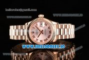Rolex Datejust Swiss ETA 2671 Automatic Rose Gold Case with Pink Dial Roman Numeral Markers and Rose Gold Bracelet (BP)