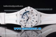 Audemars Piguet Royal Oak Offshore Diver Clone AP Calibre 3120 Automatic Ceramic Case with White Dial White Rubber Strap and Stick Markers (EF)