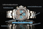 Rolex Daytona II Chrono Miyota Quartz Full Steel with Diamonds Dial Stick Markers and Diamonds Bezel
