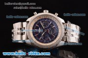 Breitling Bentley Chronograph Swiss Valjoux 7750 Automatic Steel Case/Strap with Blue Dial