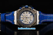 Audemars Piguet Royal Oak Chronograph Swiss Valjoux 7750 Automatic Movement White Dial with Blue Number Markers and Blue Leather Strap