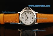 Panerai Luminor Marina Pam 113 Manual Winding Movement Steel Case with White Dial and Yellow Leather Strap