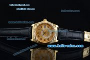 Rolex Sky-Dweller Asia 2813 Automatic Gold Case Numeral Markers with Black Leather Strap and Yellow Dial