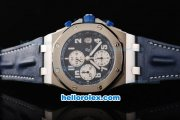 Audemars Piguet Royal Oak Offshore Blue Themes Chronograph Swiss Valjoux 7750 Movement Blue Dial with White Subdials and Numeral Marker-Blue Leather Strap