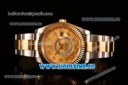 Rolex Sky-Dweller Asia Automatic Two Tone Case/Bracelet with Roman Numeral Markers and Gold Dial