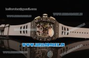 Richard Mille RM 11-09 Chrono Swiss Valjoux 7750 Automatic Carbon Fiber Case with Skeleton Dial Arabic Numeral and White Rubber Strap - 1:1 Original(KV)