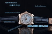 Rolex Sky-Dweller Asia 2813 Automatic Rose Gold Case with Black Leather Strap and White Dial Roman Markers