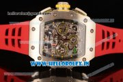 Richard Mille RM11-03 Swiss Valjoux 7750 Automatic Steel Case Skeleton Dial With Arabic Numeral Markers Red Rubber Strap(KV)