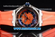 Audemars Piguet Royal Oak Offshore Diver Asia 2813 Automatic Steel Case with Orange Dial and Stick Markers Orange Rubber Strap (EF)