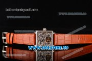Minorva Swiss Tourbillon Manual Winding Steel Case with Orange Leather Strap and Skeleton Dial