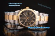 Rolex Sky-Dweller Asia 2813 Automatic Two Tone Case/Strap with Black Dial and Roman Markers