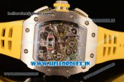 Richard Mille RM11-03 Swiss Valjoux 7750 Automatic Steel Case Skeleton Dial With Arabic Numeral Markers Yellow Rubber Strap(KV)