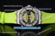 Audemars Piguet Royal Oak Offshore Diver Swiss Valjoux 7750 Automatic Steel Case with Green Dial Green Rubber Strap and Stick/Arabic Numeral Markers (EF)