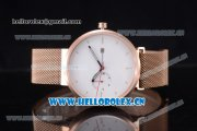 Greyhours Essential Miyota Quartz Rose Gold Case/Bracelet with White Dial and Stick Markers