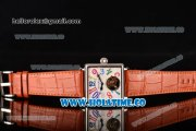 Minorva Swiss Tourbillon Manual Winding Steel Case with White Dial Orange Leather Strap and Colorful Arabic Numeral Markers