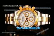 Rolex Daytona II Chrono Swiss Valjoux 7750 Automatic Two Tone Case/Bracelet with White Dial Stick Markers and Yellow Gold Bezel (JF)