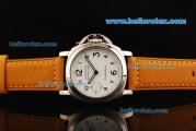 Panerai Luminor Marina PAM113E Manual Winding Movement White Dial with Black Arabic Numerals and Leather Strap