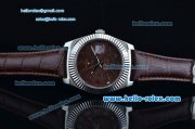 Rolex Sky-Dweller Asia 2813 Automatic Stainless Steel Case with Brown Leather Strap and Brown Dial