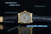 Rolex Sky-Dweller Asia 2813 Automatic Gold Case Roman Markers with Black Leather Strap and White Dial