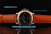 Panerai Luminor Marina Pam 005 Swiss ETA 6497 Manual Winding Movement Steel Case with Black Dial and Leather Strap