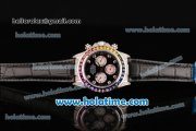 Rolex Daytona Rainbow Asia 3836 Automatic Steel/Diamond Case with Black Leather Strap Colorful Diamond Bezel and Black Dial (BP)