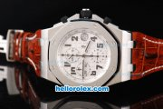 Audemars Piguet Royal Oak Chronograph Swiss Valjoux 7750 Movement White Dial with Black Numeral Marker and Brown Leather Strap