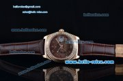 Rolex Sky-Dweller Asia 2813 Automatic Rose Gold Case with Brown Leather Strap and Brown Dial