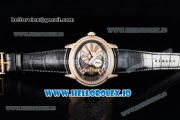 Audemars Piguet Millenary Miyota 9015 Automatic Rose Gold Case White Dial With Roman Numeral Markers Black Leather Strap