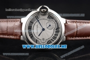 Cartier Ballon Bleu De Large Asia 2813 Automatic Steel Case with Silver Dial and Brown Leather Strap Roman Numeral Markers
