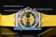 Audemars Piguet Royal Oak Offshore Diver Swiss Valjoux 7750 Automatic Steel Case with Yellow Dial Yellow Rubber Strap and Stick/Arabic Numeral Markers (EF)