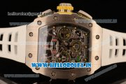 Richard Mille RM11-03 Swiss Valjoux 7750 Automatic Steel Case Skeleton Dial With Arabic Numeral Markers White Rubber Strap(KV)