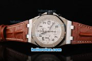Audemars Piguet Royal Oak Offshore Chronograph Swiss Valjoux 7750 Movement Silver Case with White Dial and Black Numeral Marker-Brown Leather Strap