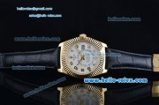 Rolex Sky-Dweller Asia 2813 Automatic Gold Case with Black Leather Strap and White Dial