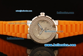 Chaumet Class One Miyota Quartz Movement Steel Case with Double Row Diamond Bezel and Orange Rubber Strap