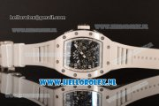 Richard Mille RM 011 Chronograph 7750 Auto Ceramic Case with Skeleton Dial and White Rubber Strap - 1:1 Origianl (KV)