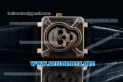 Bell & Ross BR 01 Burning Skull Asia Automatic Rose Gold Case with Skull Dial and Black Leather Strap - 1:1 Original(AAAF)