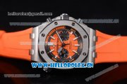 Audemars Piguet Royal Oak Offshore Diver Swiss Valjoux 7750 Automatic Steel Case with Orange Dial Orange Rubber Strap and Stick/Arabic Numeral Markers (EF)