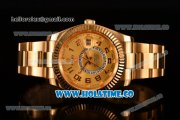 Rolex Sky-Dweller Asia Automatic Yellow Gold Case/Bracelet with Arabic Numeral Markers and Gold Dial