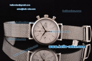 IWC Portofino Chronograph Swiss Valjoux 7750 Automatic Steel Case with White Dial and Stainless Steel Strap 1:1 Original