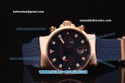 Ulysse Nardin Maxi Marine Chronograph Swiss Valjoux 7750 Automatic Rose Gold Case with Blue Dial and Blue Rubber Strap